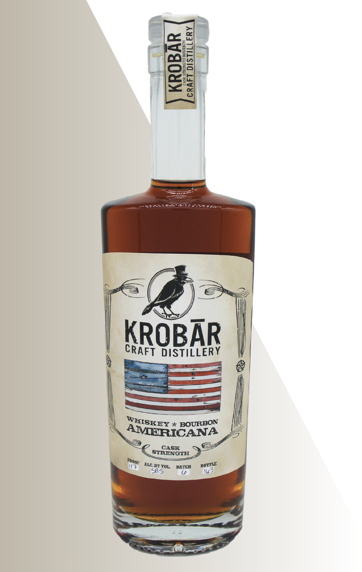 - KROBĀR Americana Cask BourbonAfter distillation, this high Rye Bourbon is placed 53 gallon #2, 3, and 4 char American Oak Barrels and aged for over two years. Once the aging process had finished, we bottle the whiskey straight from the barrel without proofing it down.Awards: California Craft Spirits Competition, Gold Medal
