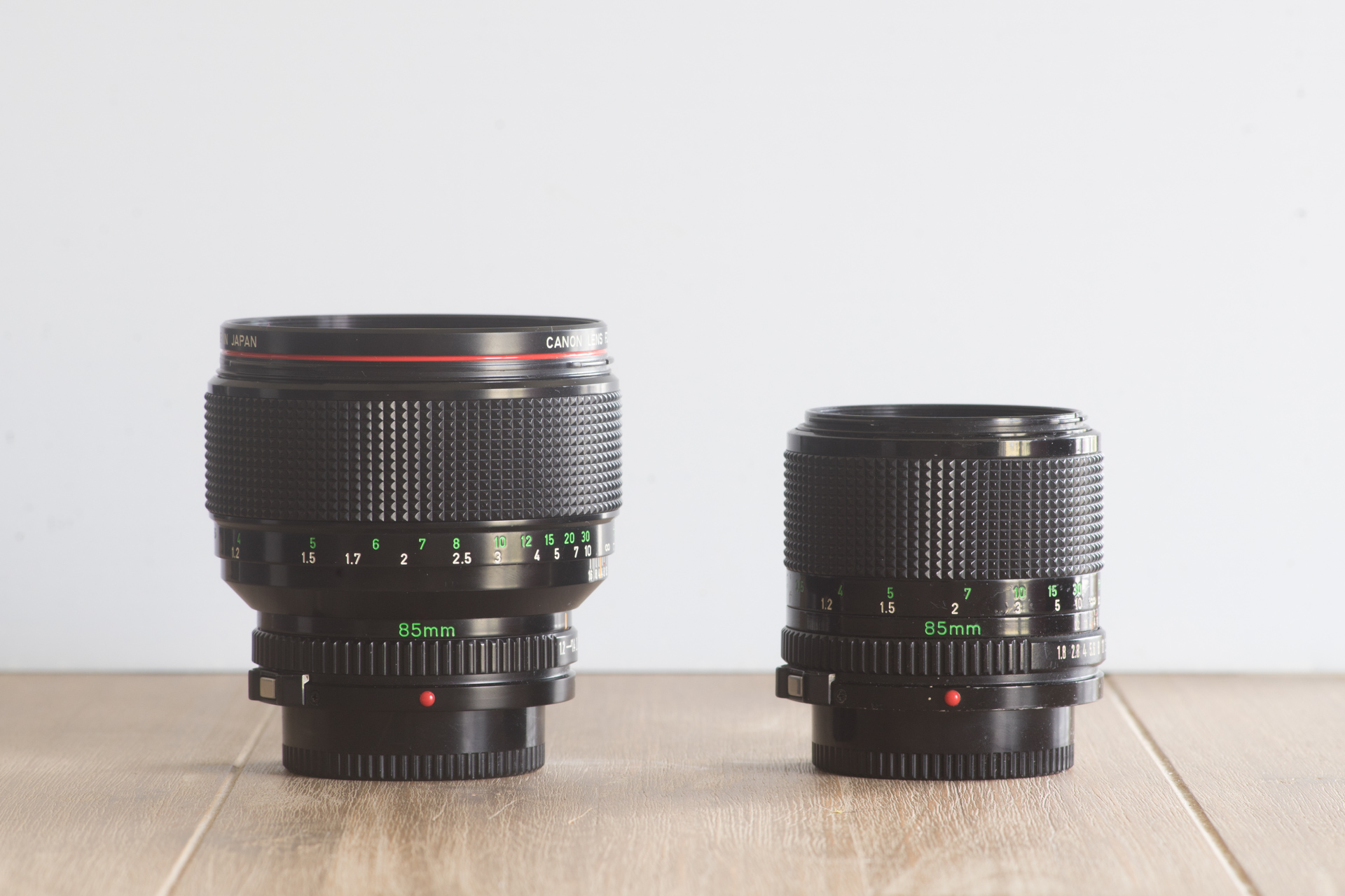 The nFD 85mm f/1.2L on the left, the 85/1.8 on the right.
