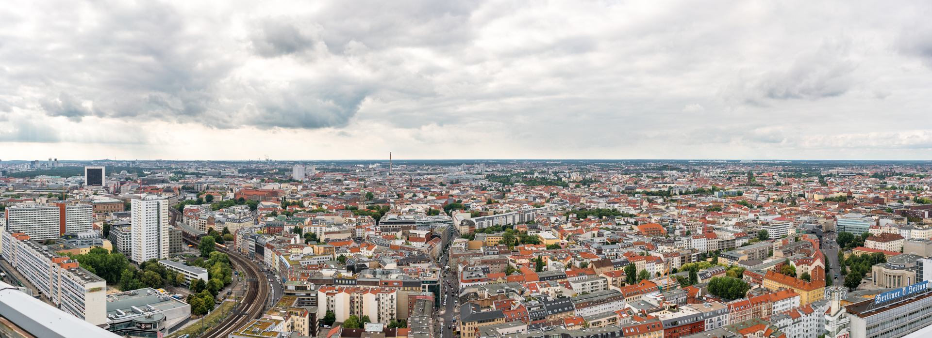 North-west view from our hotel. Click for 14K pixel wide panorama