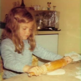 Making tortillas by hand at age 7.