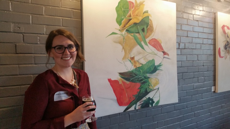 """Photographed next to """"CHICKEN LIVER"""" from the  #RuminateCLT  series at our artist reception at Free Range Brewery in NoDa/Charlotte, NC. October 2015 ."""