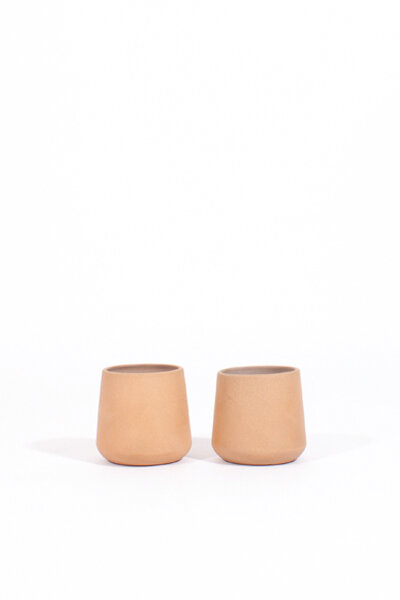 A190 NATURAL GLAZED CLAY TUMBLER / SET OF 2