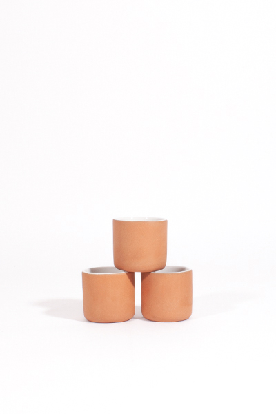 WHITE GLAZED CLAY MULTIPURPOSE CUPS / SET OF 3
