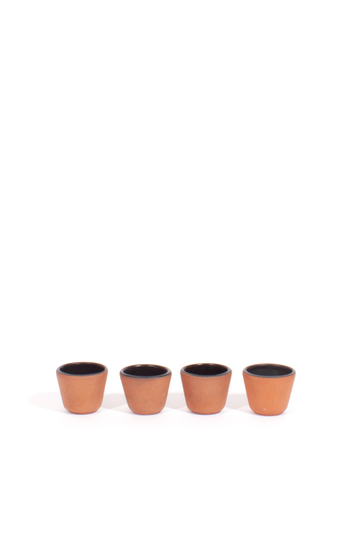 BLACK GLAZED CLAY SHOT GLASSES / SET OF 4