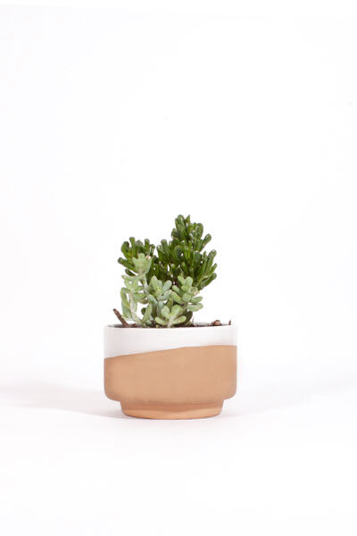 WHITE GLAZED CLAY PLANTER