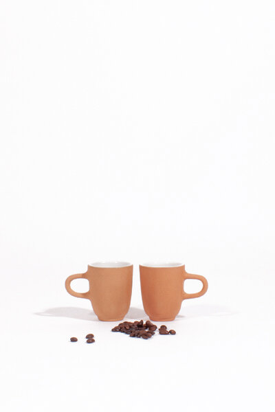 WHITE GLAZED CLAY SINGLE ESPRESSO CUPS / SET OF 2