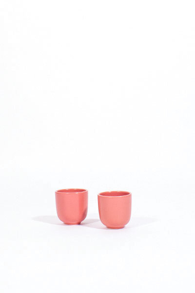 PINK CERAMIC DANISH CUPS /  SET OF 2