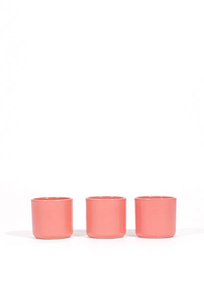 PINK CERAMIC MULTIPURPOSE CUPS / SET OF 3
