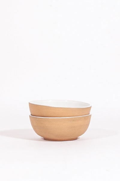 WHITE GLAZED CLAY BOWLS / SET OF 4