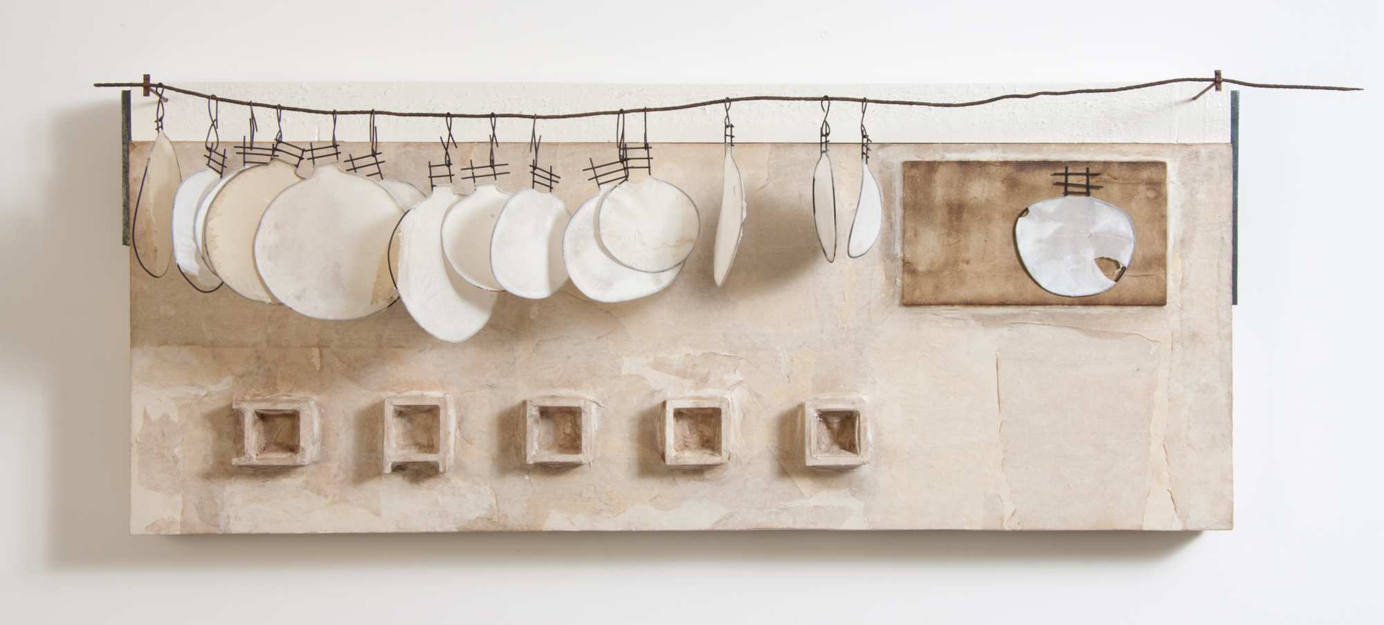 "Pamela J Wallace Industrial weeds, 16.5"" x 44"" x 10"", mixed media,handmade abaca paper, iron, wire, sheet metal, wood"