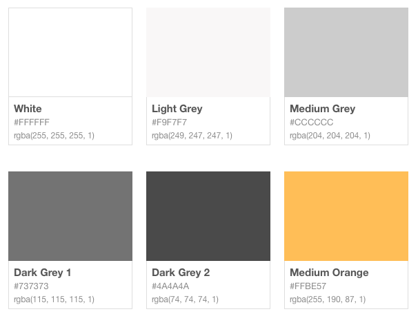 The main premise was to use a neutral palette with only one accent (Medium Orange) colour, that won't compete with already colourful movie tiles content.