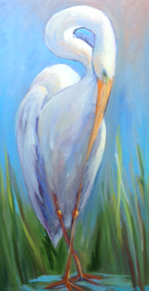 "The Shy Heron 15"" x 30"""