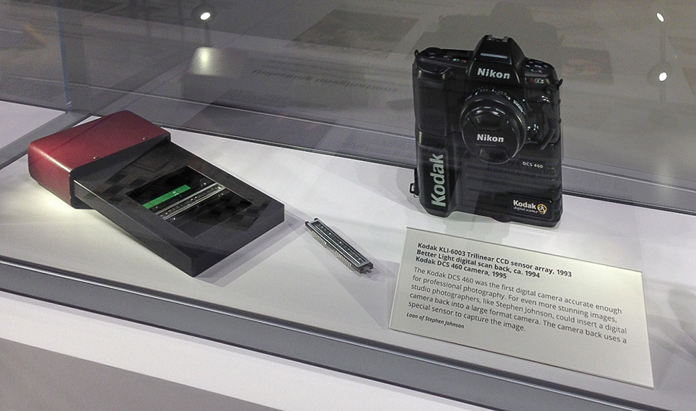 A BetterLight Scanning Insert for 4x5 cameras, its Kodak sensor, and a Kodak DCS460. Steve used these devices from 1994 and onward through the 1990s in his digital landscape photography.