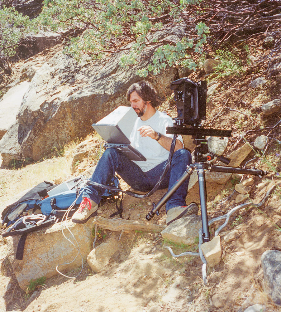 Steve using the BetterLight Scanning Back #2 with his Horseman 4x5, and Mac Powerbook 540c in Yosemite. June 1994