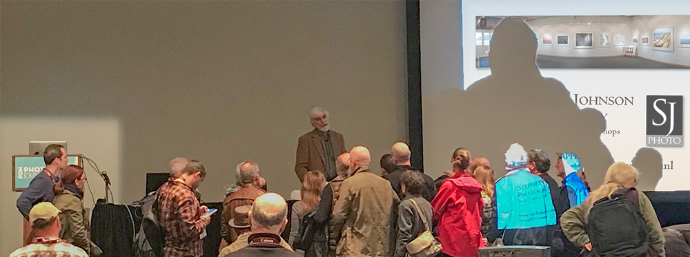 Steve answering question after Fine Art Printing lecture. PhotoPlus. New York. 2018. Photo by  Nicole M. Rosier for Canon.