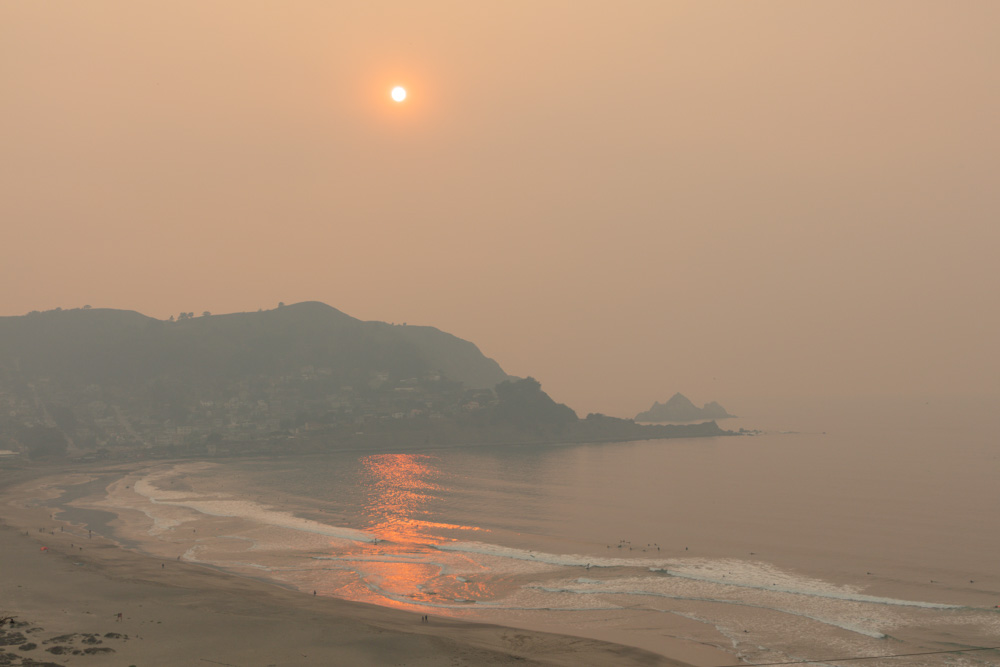 Smoky Skies over Pedro Point Headlands. Pacifica, CA.