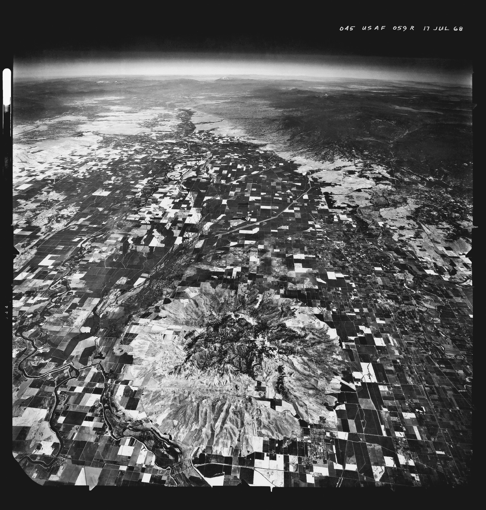 Near Space View at 60,000 feet: Sutter Buttes and the Great Central Valley. U2 Photograph of 10 inch roll film. 1968. from  The Great Central Valley: California's Heartland .
