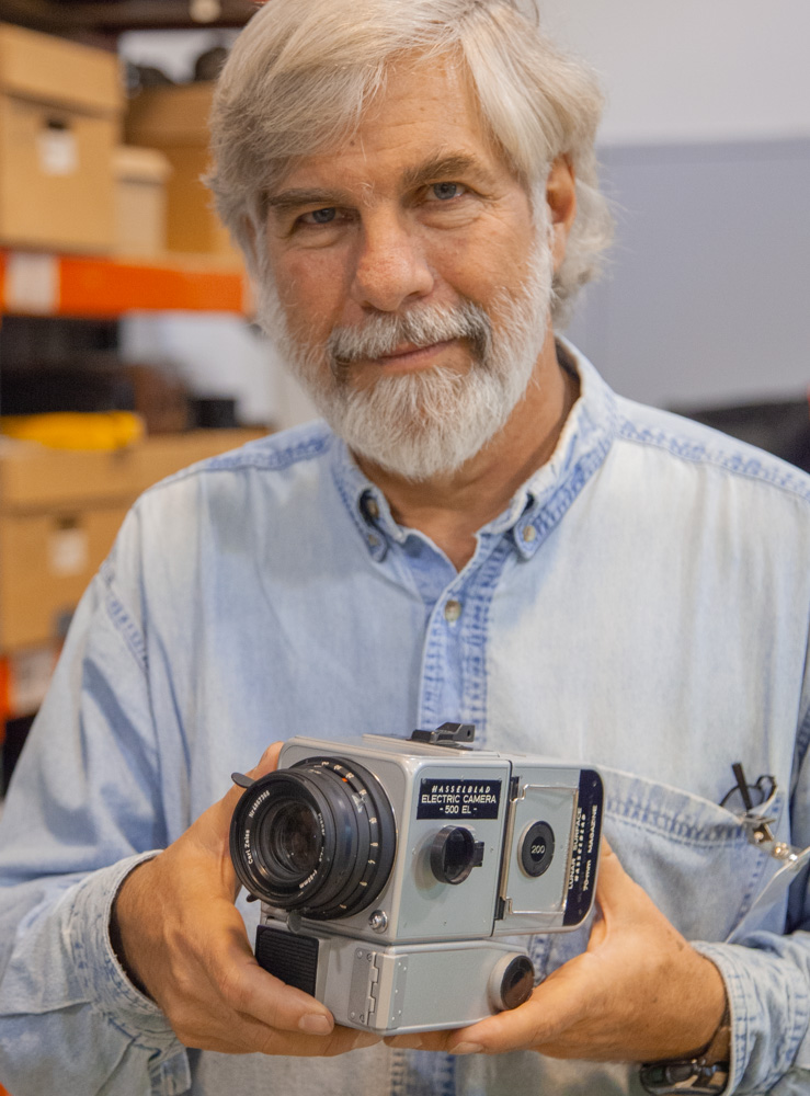Steve with Hasselblad Moon Camera. Eastman House Museum. 2012.
