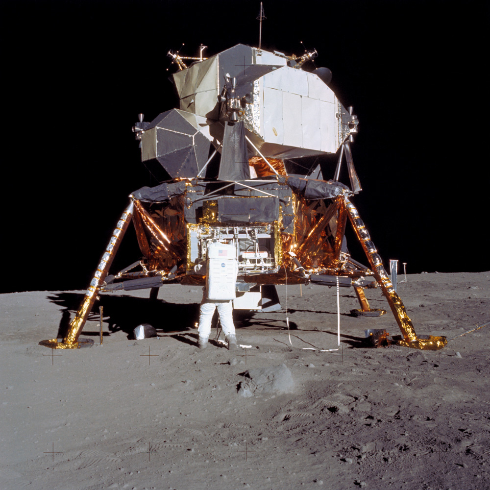 "Apollo 11 Lunar Module (LM) ""Eagle"" on the moon."
