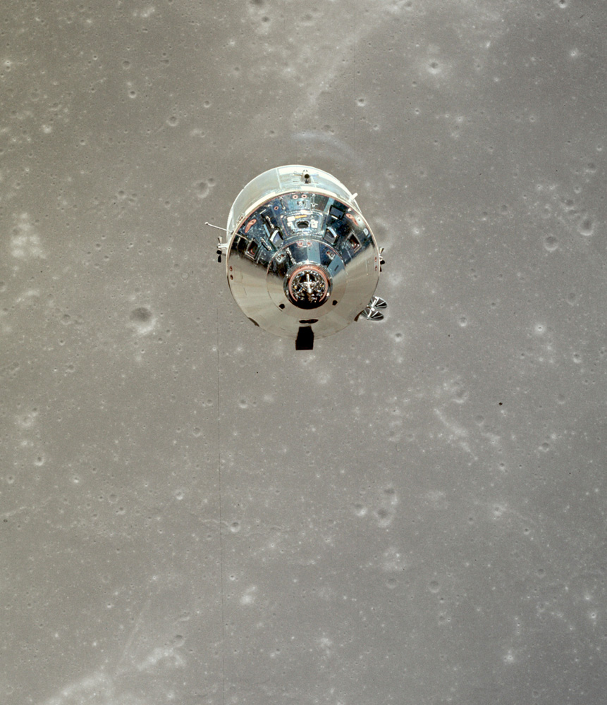 Apollo 11 Command Module over Moon.. NASA. 1969. Hasselblad with Zeiss Lens. 70mm Kodak Ektachrome.