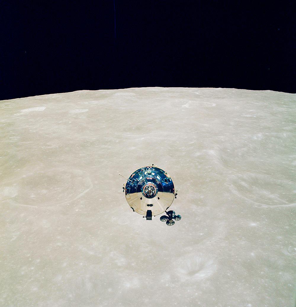 Apollo 10 Command Module over Moon. NASA. May 1969. Kodak Ektachrome with Hasselblad.