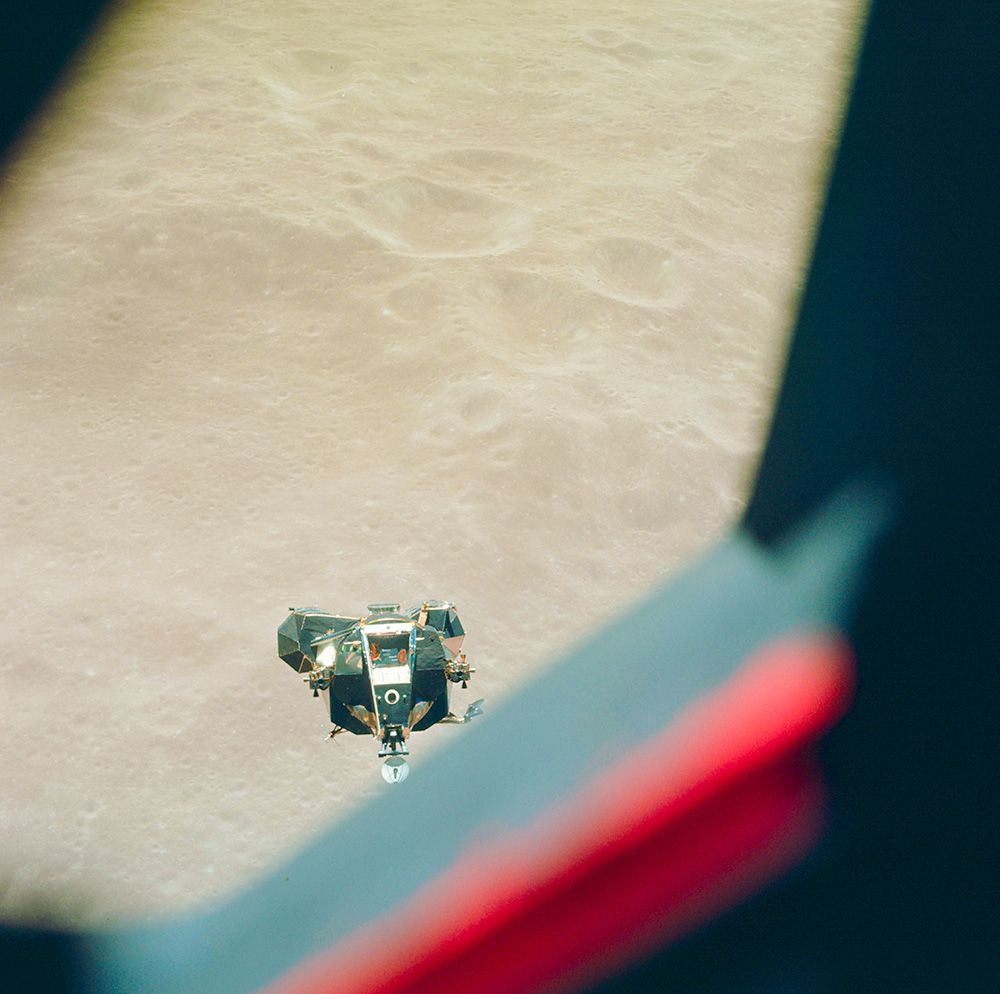 Apollo 10 Lunar Module Approaching CM just after near disaster.NASA. May 1969. Kodak Ektachrome with Hasselblad