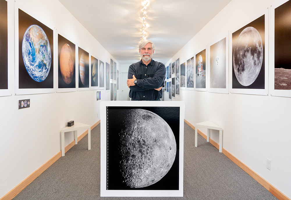 In the  50 Years of Space Photography Gallery  with a new print of unreleased restored  photograph from the Lunar Orbiter IV  Thank you Dennis Wingo for sending me your file.