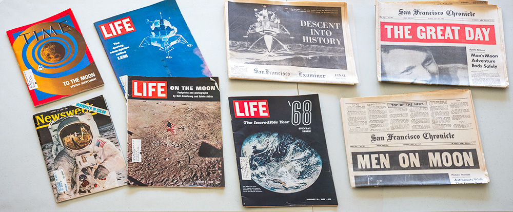 My friend David Gardner's headline newspapers and magazines from the mission.
