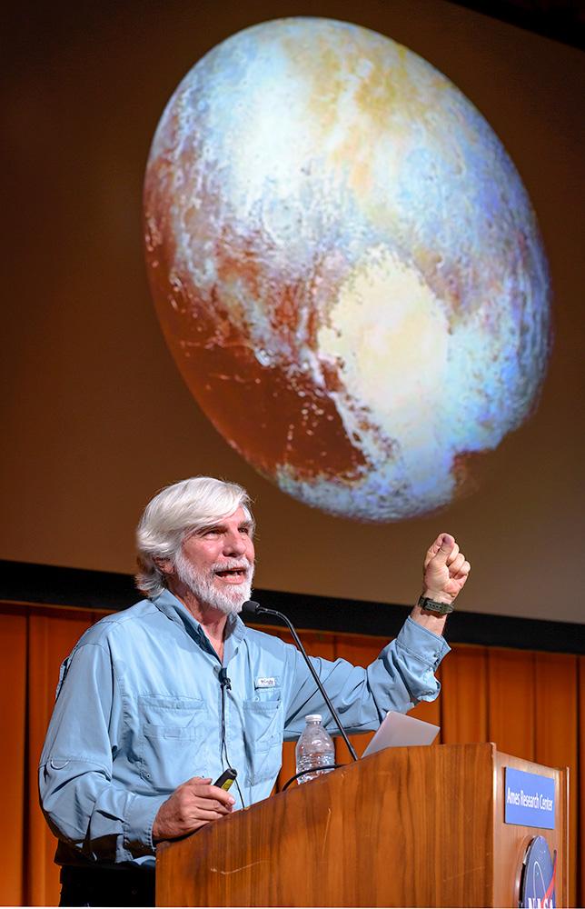 Steve Lecturing at NASA Ames. August 15, 2019. NASA photo by Don Richey..