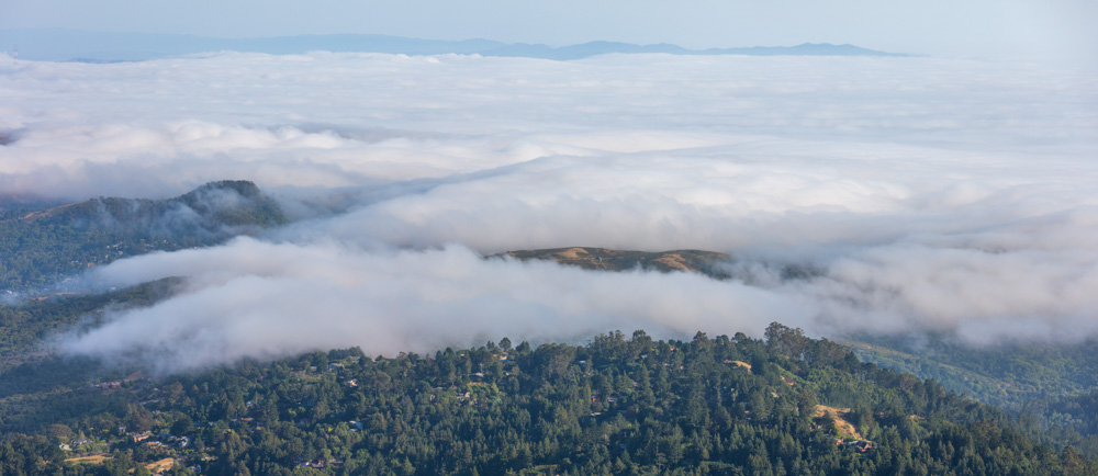 Fog rolling in over the Marin Headlands. Mt. Tamalpias. Two image panorama. 2019. Canon EOS 5DS R