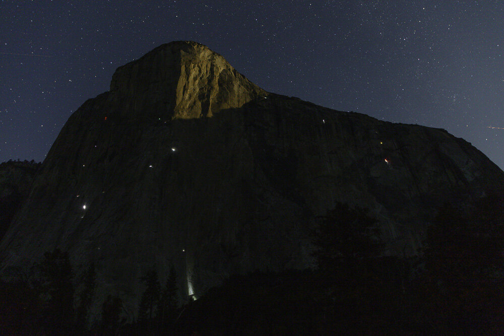 Climber Campers under a Starry Night. El Capitan. Yosemite. 2019. Canon EOS 5DSr.