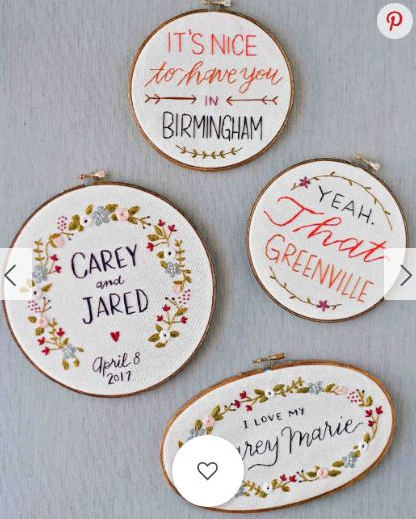 Gifts for the bride - Tamara created four custom pieces for the groom, Jared, to give to his fiancee Carey on the morning of their wedding.The set of embroidery was featured in Martha Stewart Weddings.