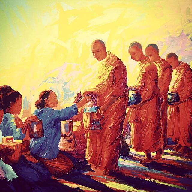 Local art in Chiang Mai - almsgiving. #chiangmai #thailand #monks #almsgiving