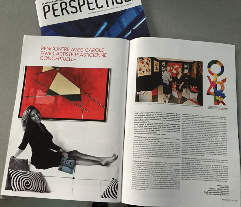 Full page print of the portrait of artist Carole Pavio in PERSPECTIVE October issue