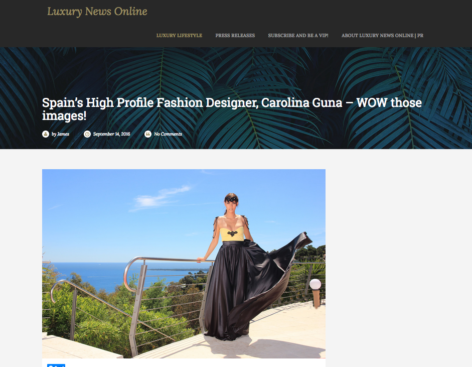 """""""WOW those Images!""""-Luxury News online    Published our work with Carolina Guna Sept. 2016    read the article"""