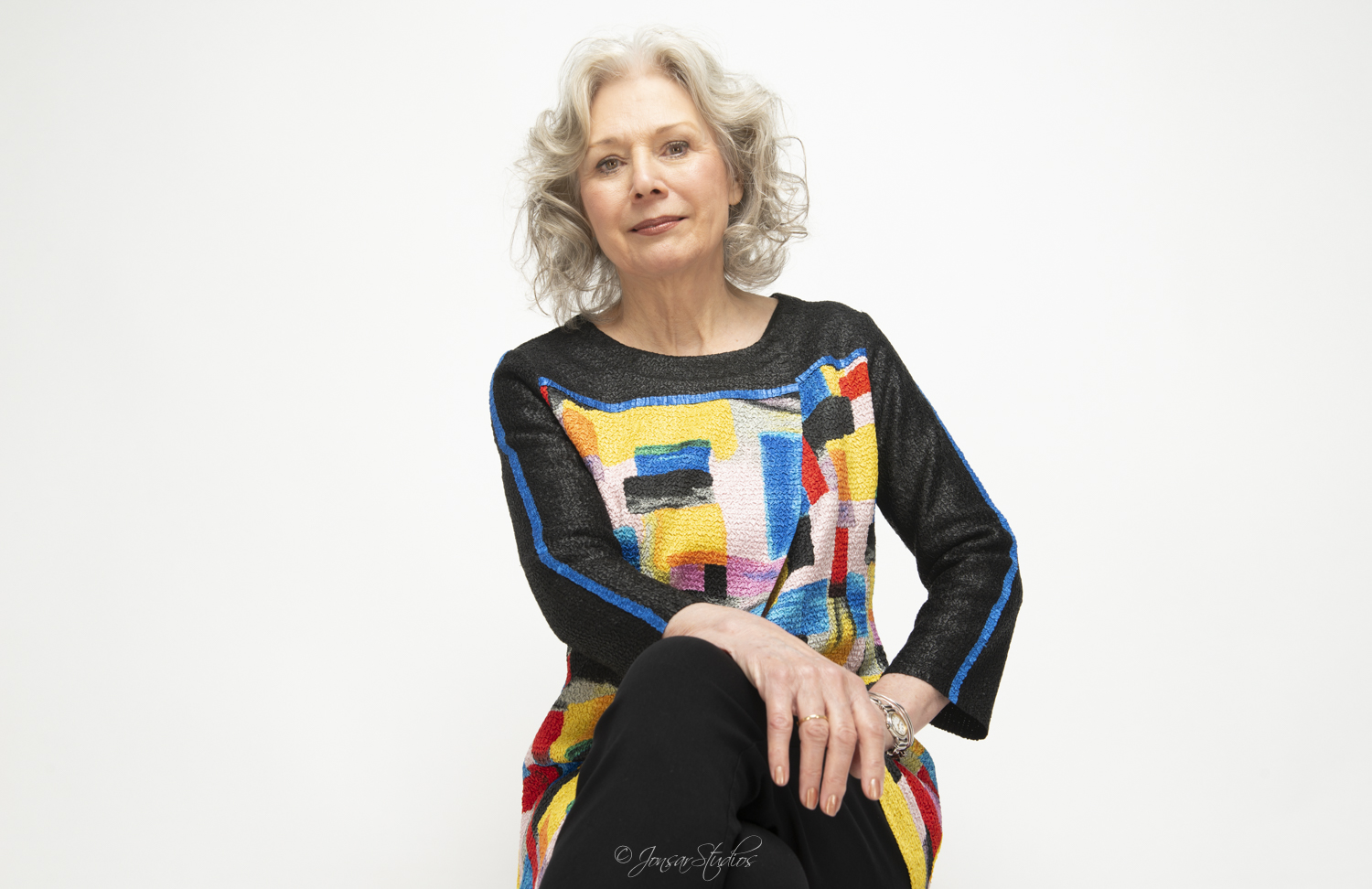 Kathryn Leigh Scott Portrait in Colorful Sweater