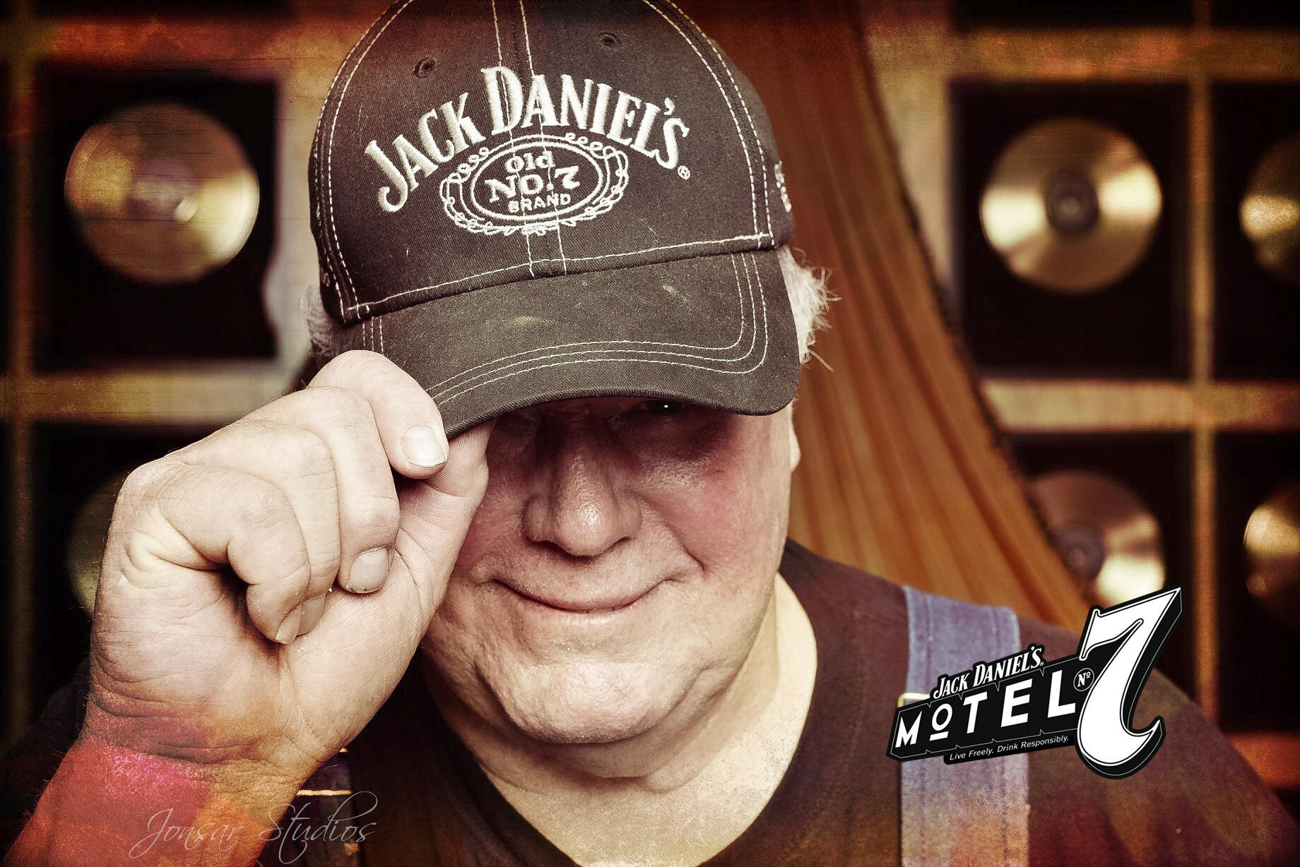 Colorful Portrait of man wearing Jack Daniel's Cap