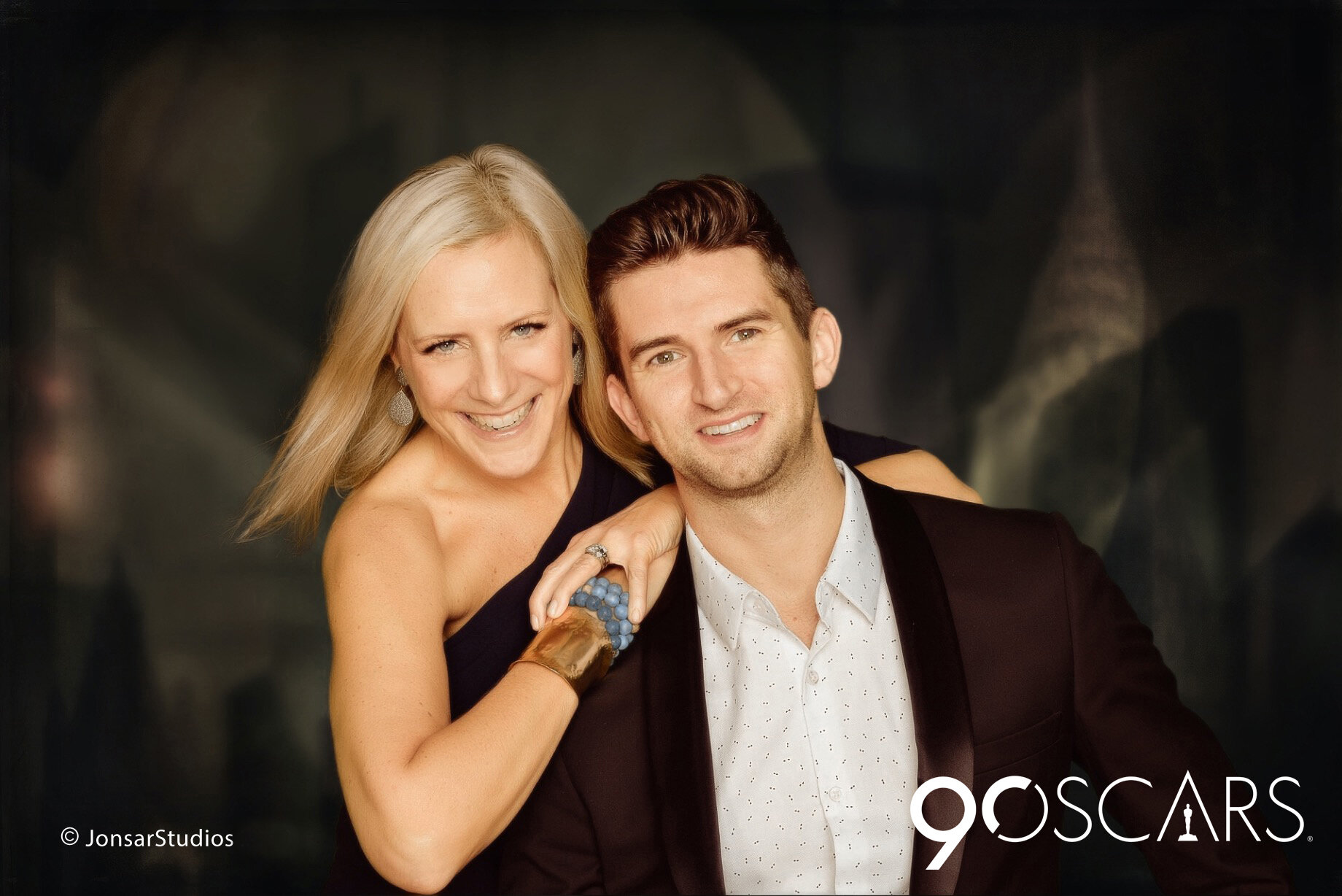 Portrait of Man and Woman photographed on Custom Created NYC Art Deco Background