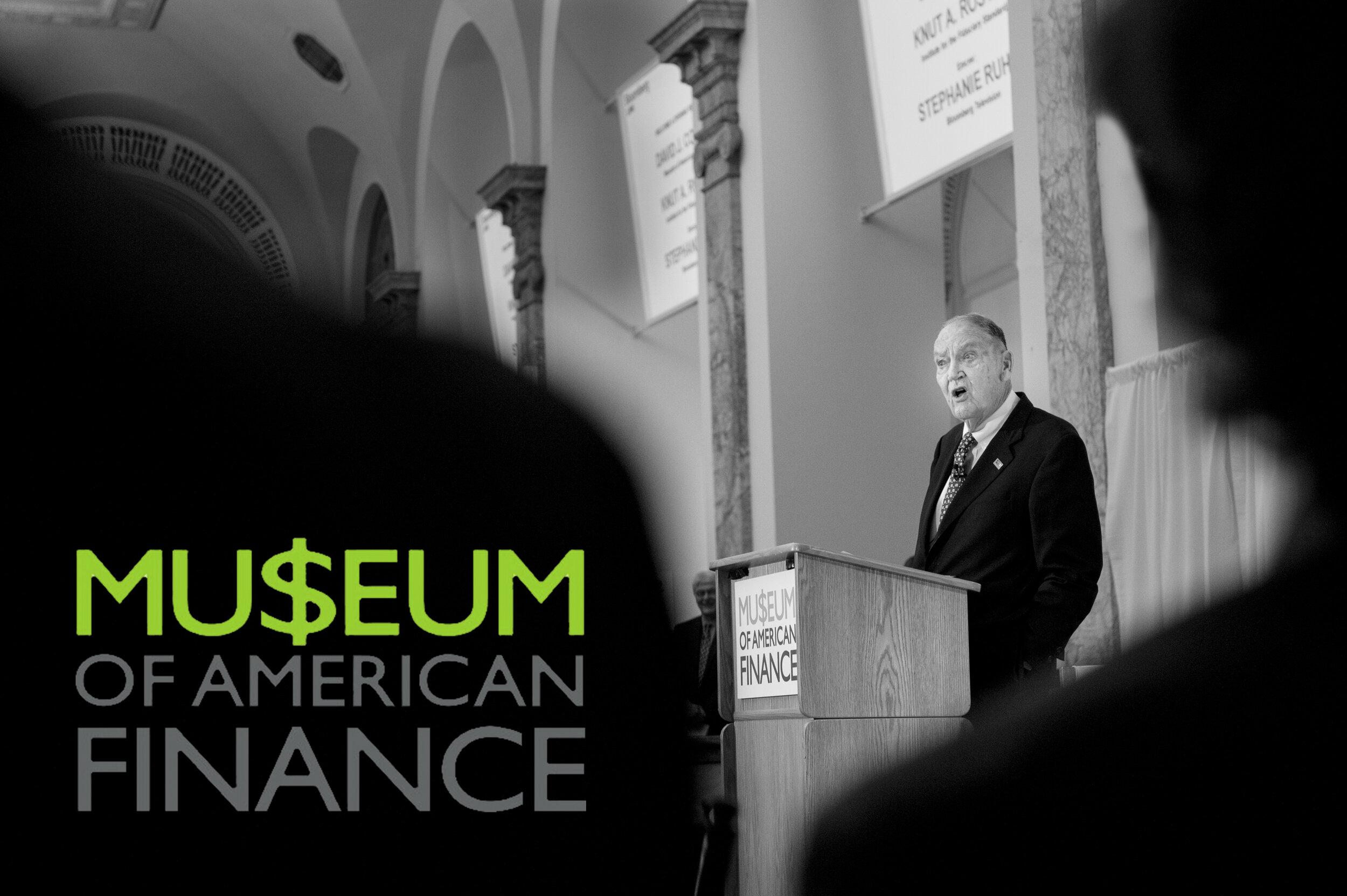 Portrait of Jack Bogle at Museum of American Finance
