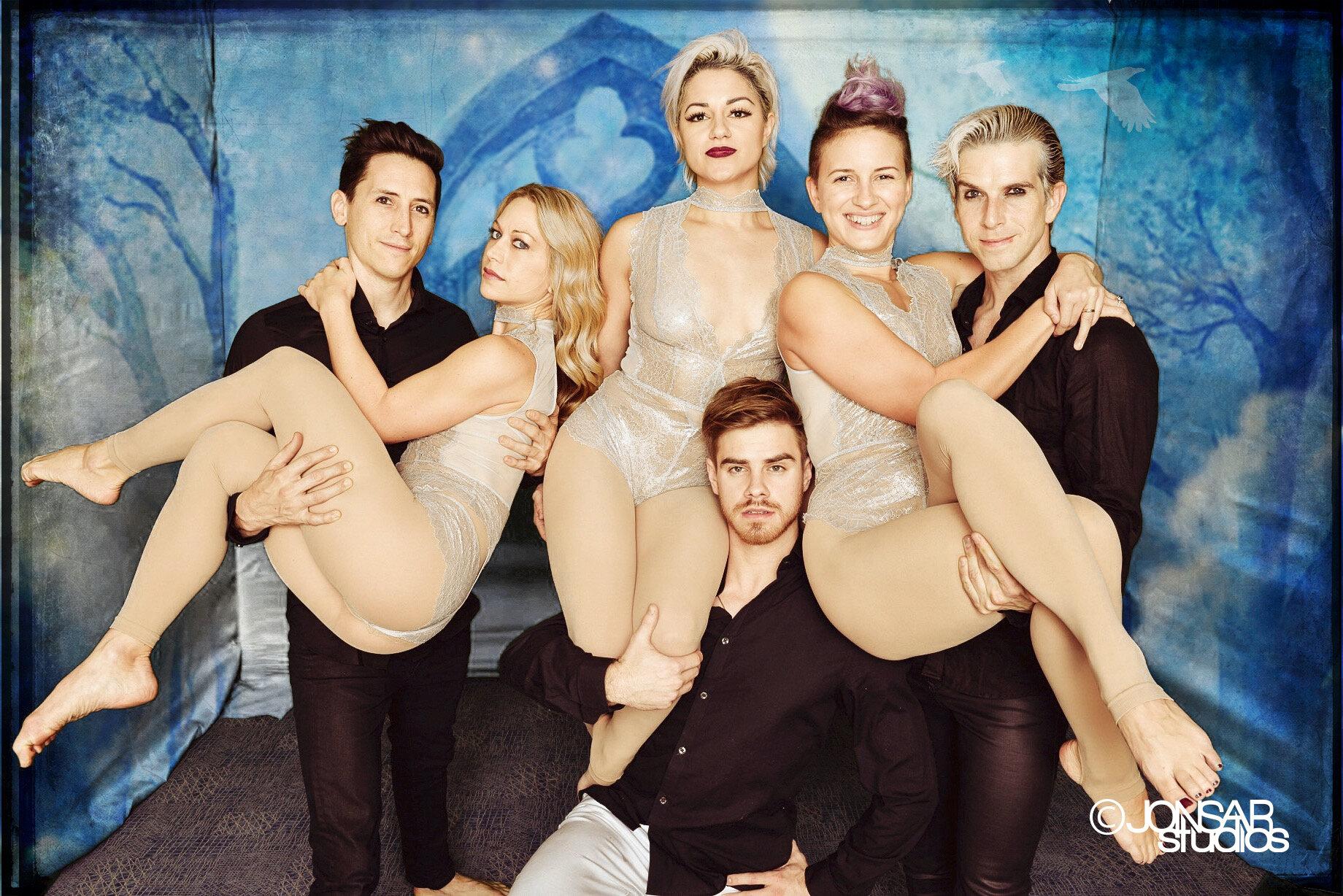 Portrait of Team of Acrobat Performers on Custom Background