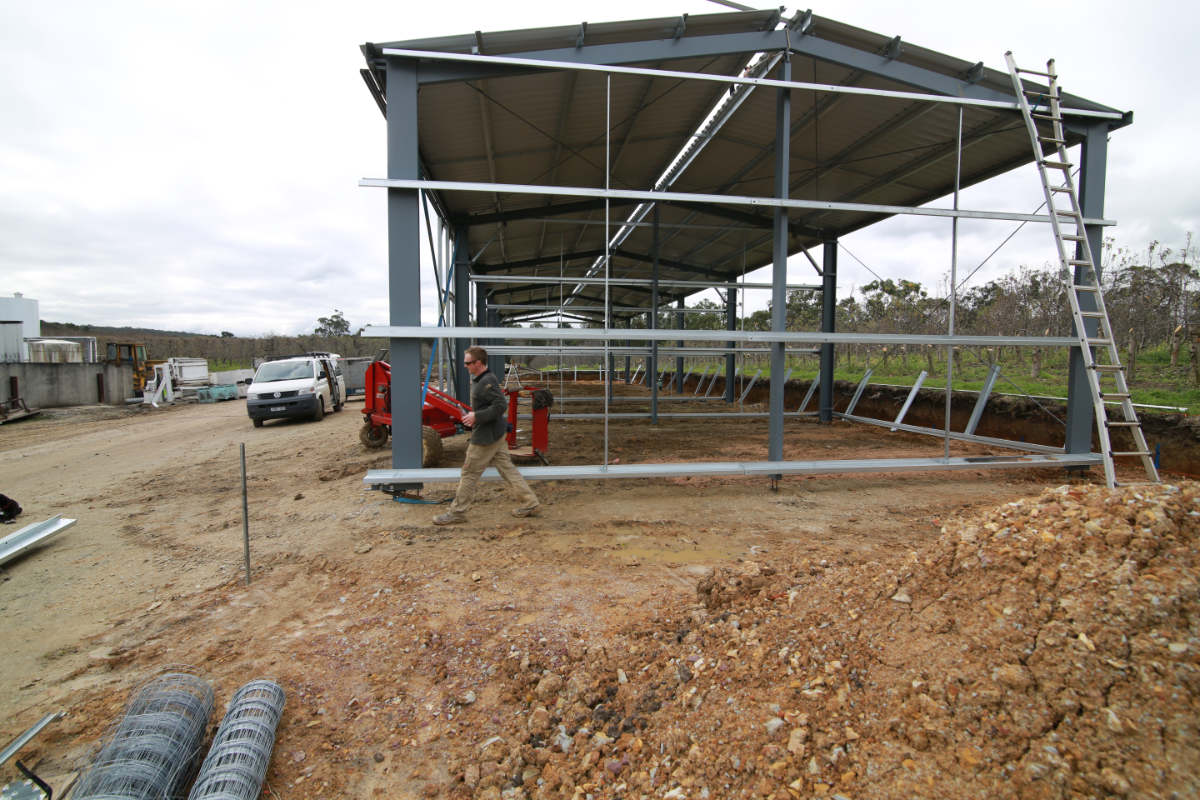 New tractor shed and workshop under construction