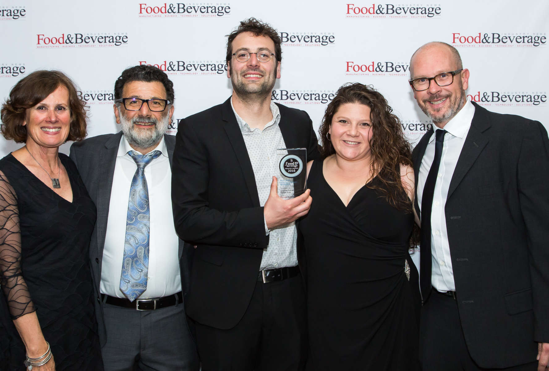 """Left to Right: Anne Russo, Robert Russo, Nick Russo, Bernadette Russo and Luke Southwell. Immediately after receiving the award for """"Best new Non-alcoholic Beverage"""" in Sydney 2016."""