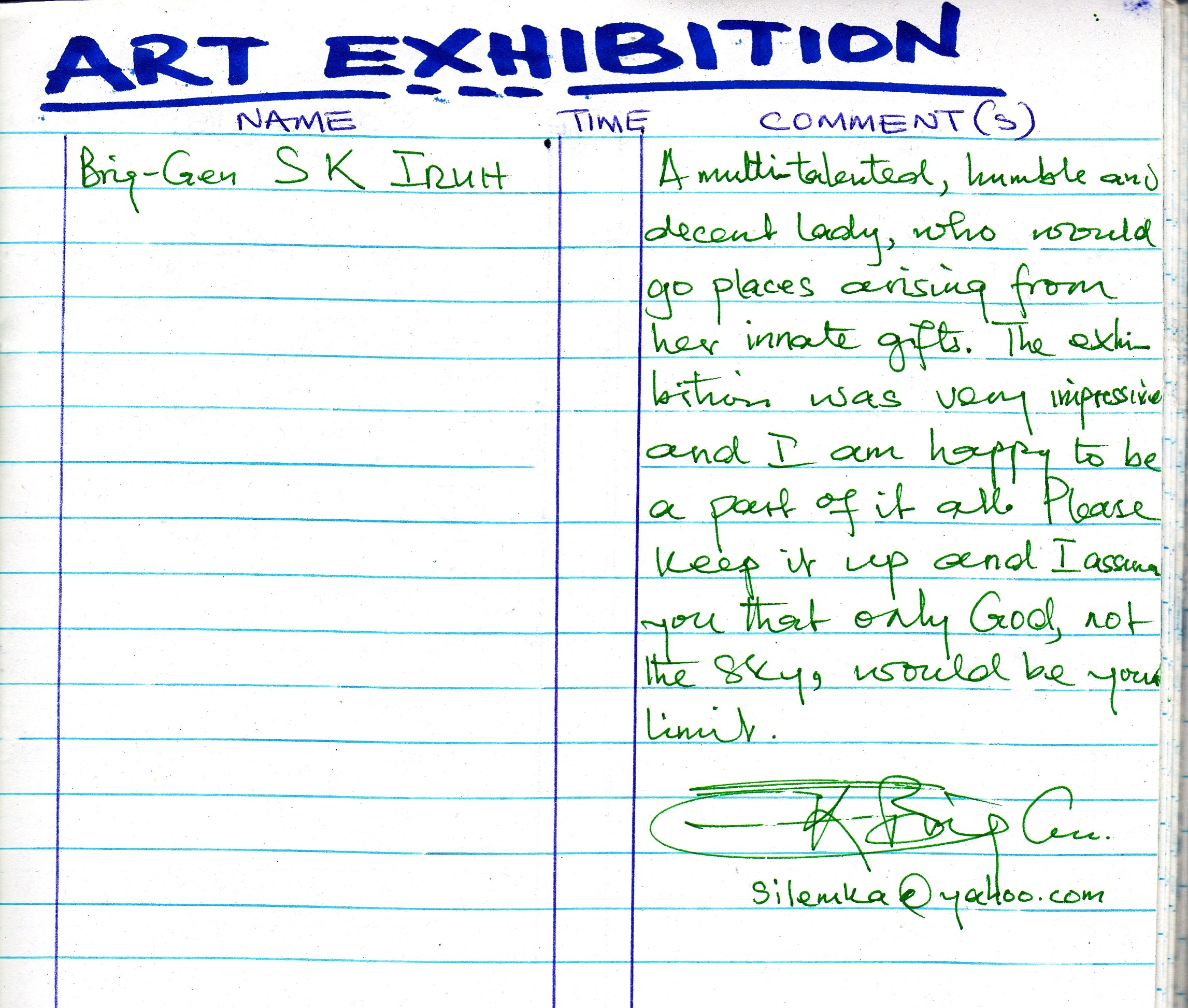 Testimonial By Brig Gen S K Iruh