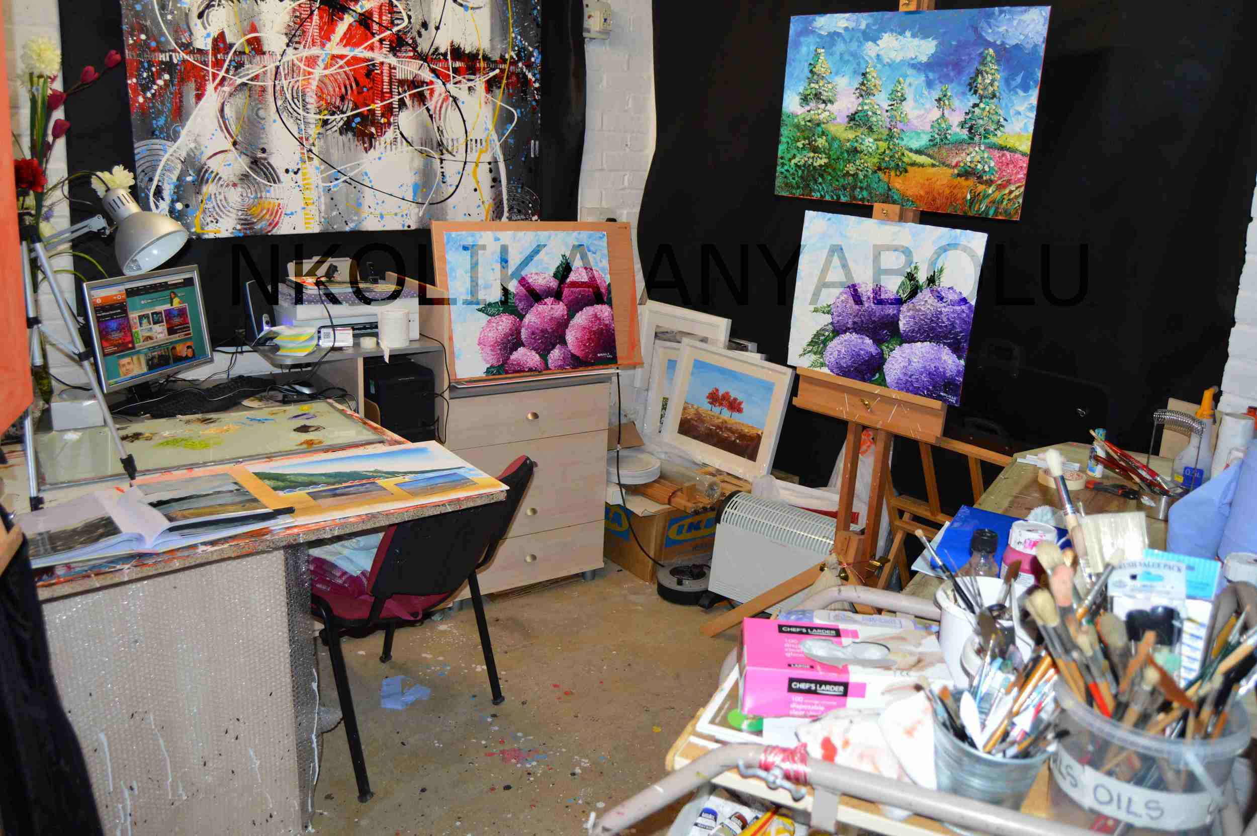 My Art Studio. Click  here  to view the works on the easel