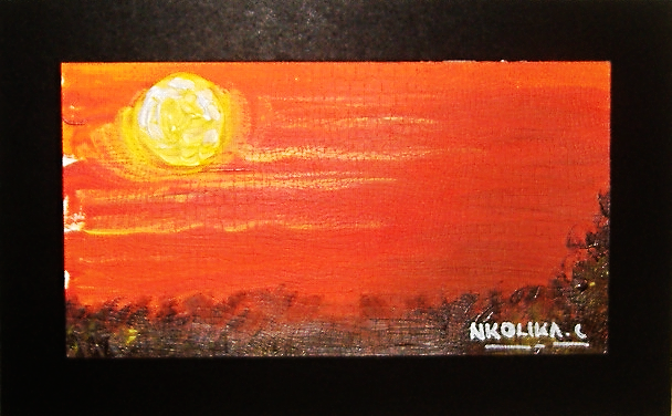 Acrylic Sunset Painting by Nkolika Anyabolu