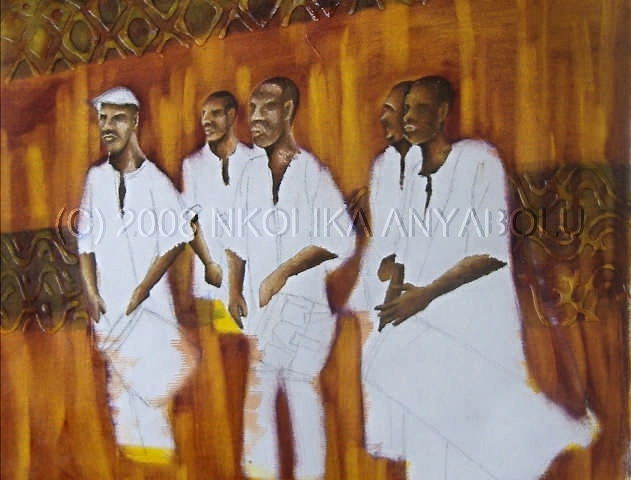 African Drums: Oil Painting by Nkolika Anyabolu