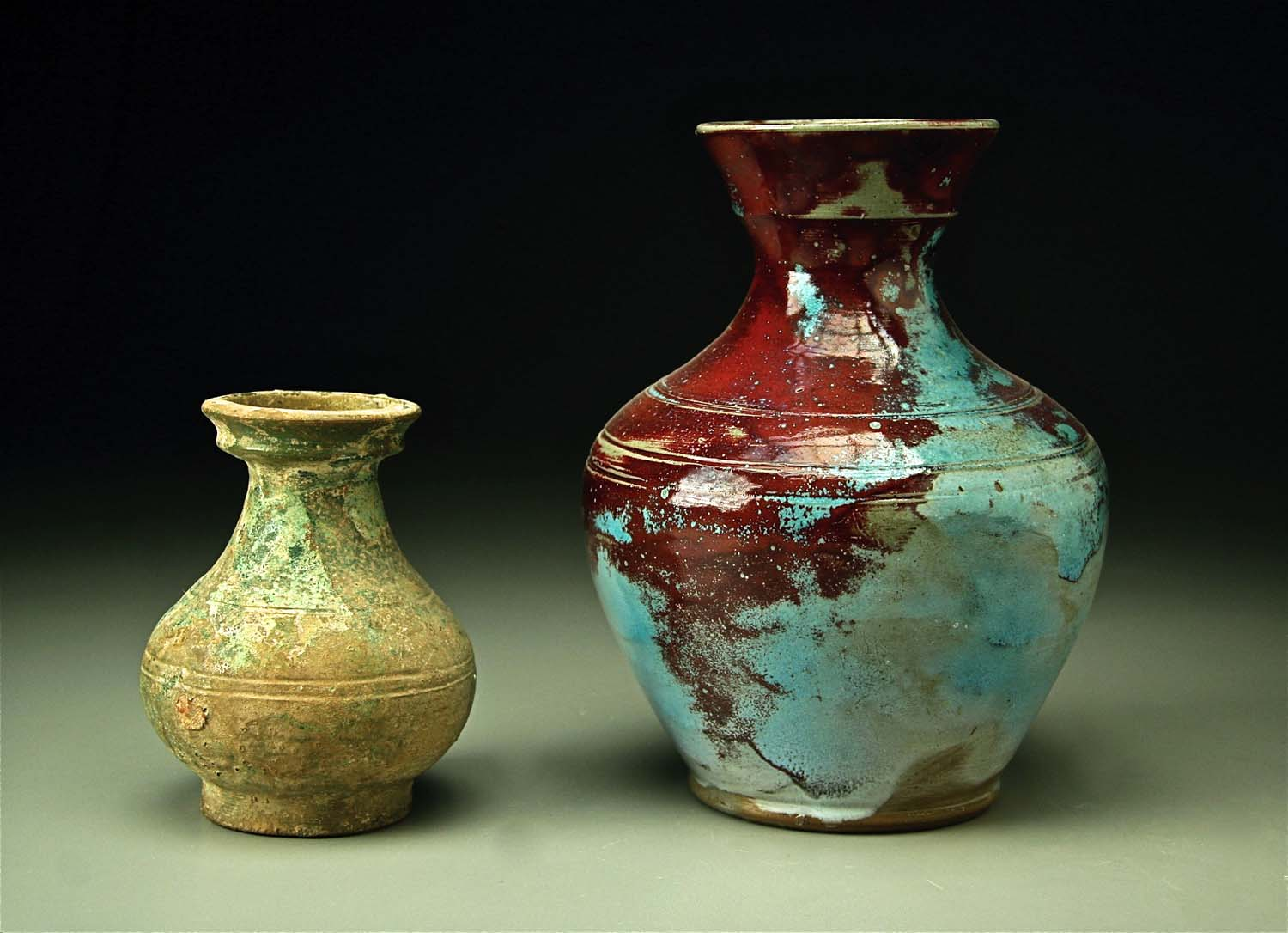 Han Vase from China and Jugtown prototype in Chinese Blue Ben Owen 1930sweb.jpg