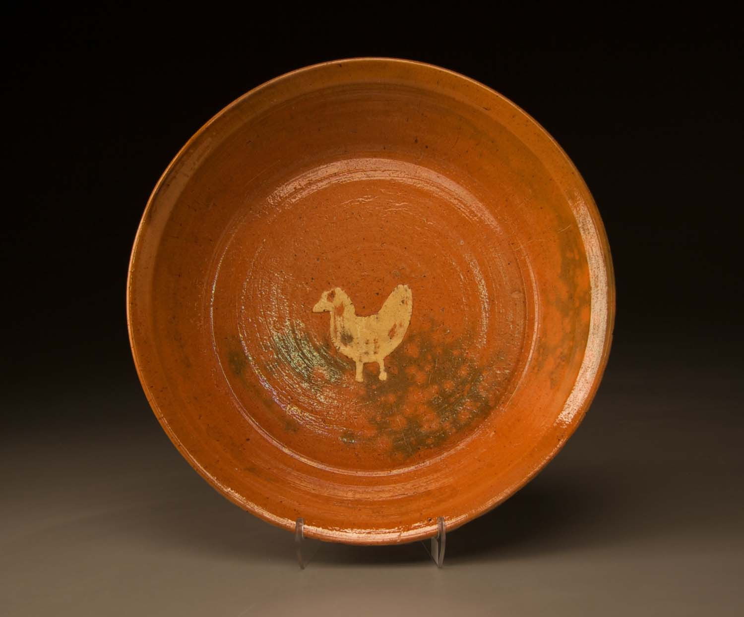 Chicken Plate in Orange Glaze by Ben Owen Sr. Decorated by Jacques Busbee Inside View 1940s.jpg