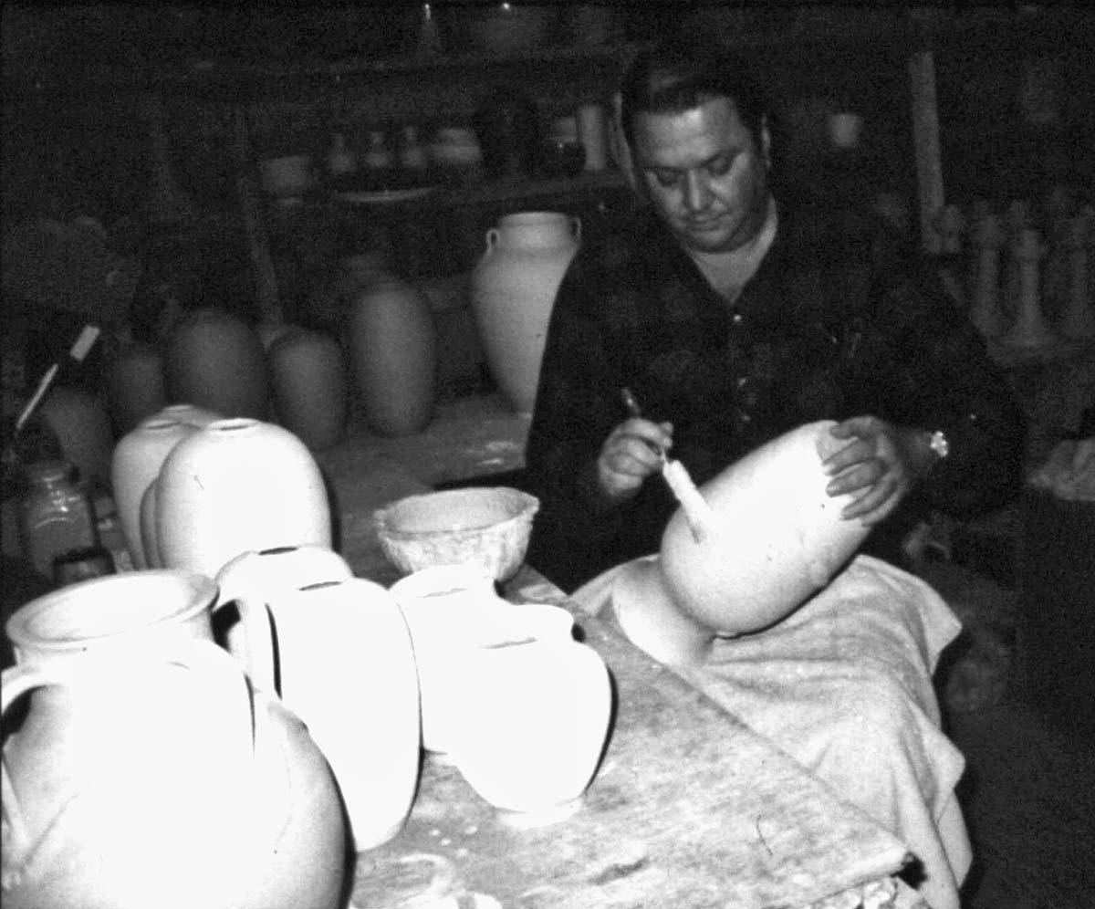 Ben Wade Owen Jr. Glazing Pottery 1980s.jpg