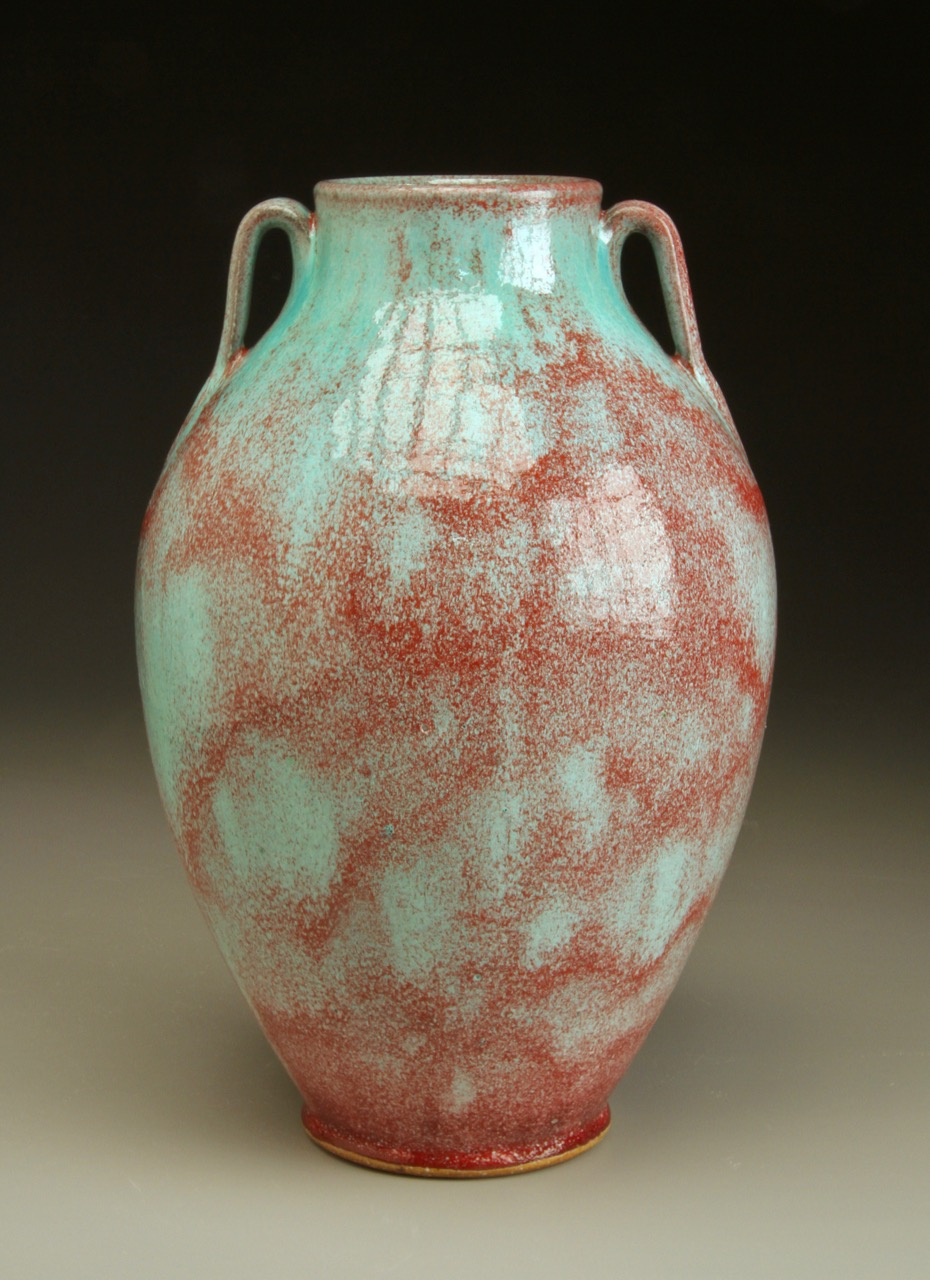 "Tang Style Vase in Chinese Blue-Red 12"" tall."